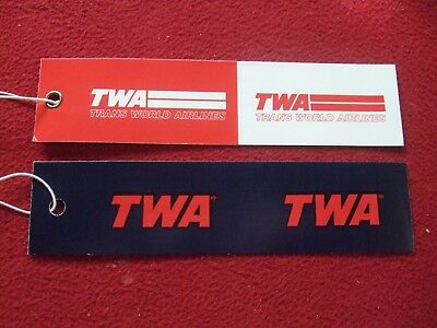 Airline Baggage Tags X 2 Twa Trans World Airlines 1980's / 90's Vintage