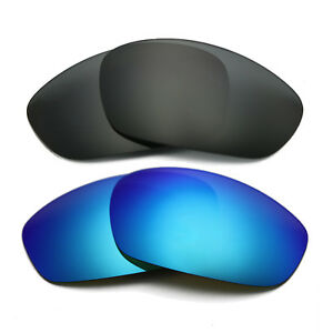 b21b15562001f 2 Pair Black Ice Blue Replacement Lens for-Oakley Straight Jacket ...