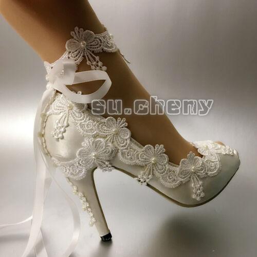 su.cheny Ribbon anklet white ivory satin open toe heel Wedding Bridal shoes size