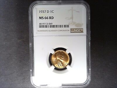 1937-D LINCOLN CENT NGC MS66RD