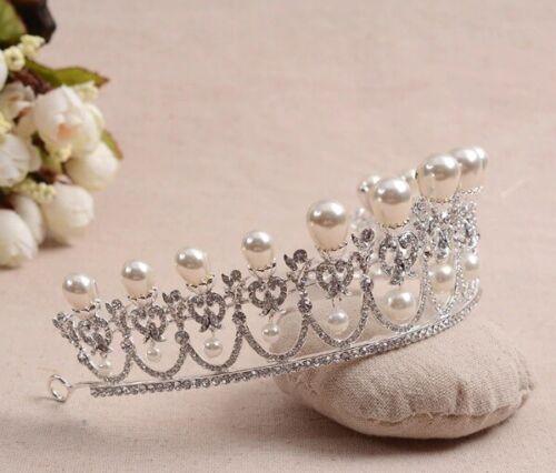 Pearl Crystal Rhinestone Diana Tiara Style Bridal Crown Wedding Headband Jewelry