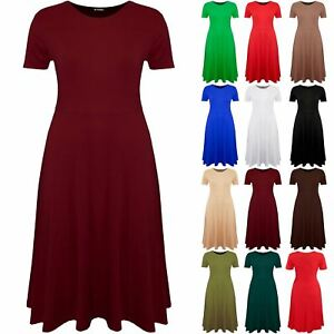 New Ladies Womens Franki Long Sleeves Swing Midi Flared Skater Dress Plus Size