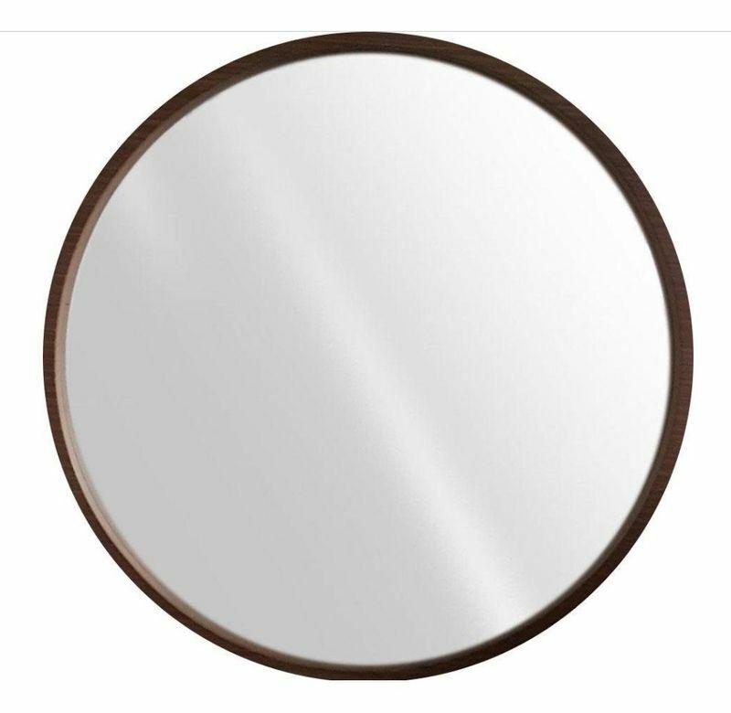 Wandspiegel  Circlewood  Ø 82 cm Spiegel Rahmen aus Massivholzl dunkelbraun