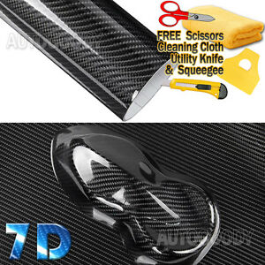 7D Premium Super Gloss Black Carbon Fiber Vinyl Wrap Bubble Free Air...