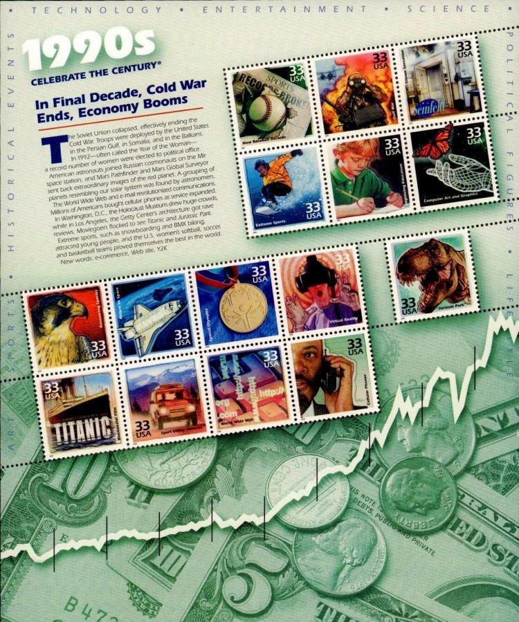 2000 33c 1990's Celebrate the Century, Sheet of 15 Scot