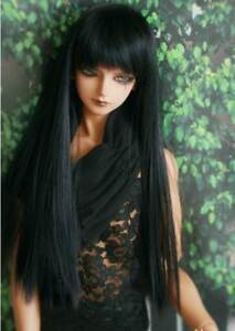 "7-8/"" 1//4 BJD Doll Long Wig Hair Straight Smooth Black Elegant Buckle Tips Ends"