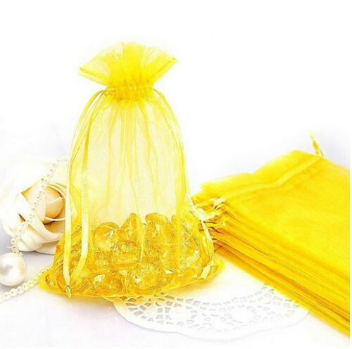 100Pcs Organza Jewellery Packing Pouches Wedding Party Favour Candy Gift Bags jc