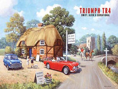 Tea Rooms Classic British Sports Car Old Mini Medium Metal Tin Sign Triumph TR4