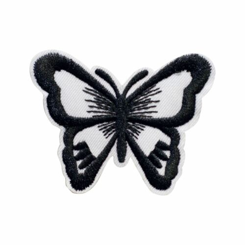 Black white Butterfly Embroidery Applique Patch Sew Iron Badge Iron on