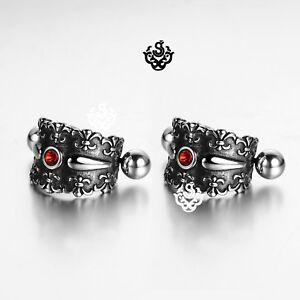 Silver-stainless-steel-red-crystal-earrings-huggies-cuff-screw-on-Soft-Gothic