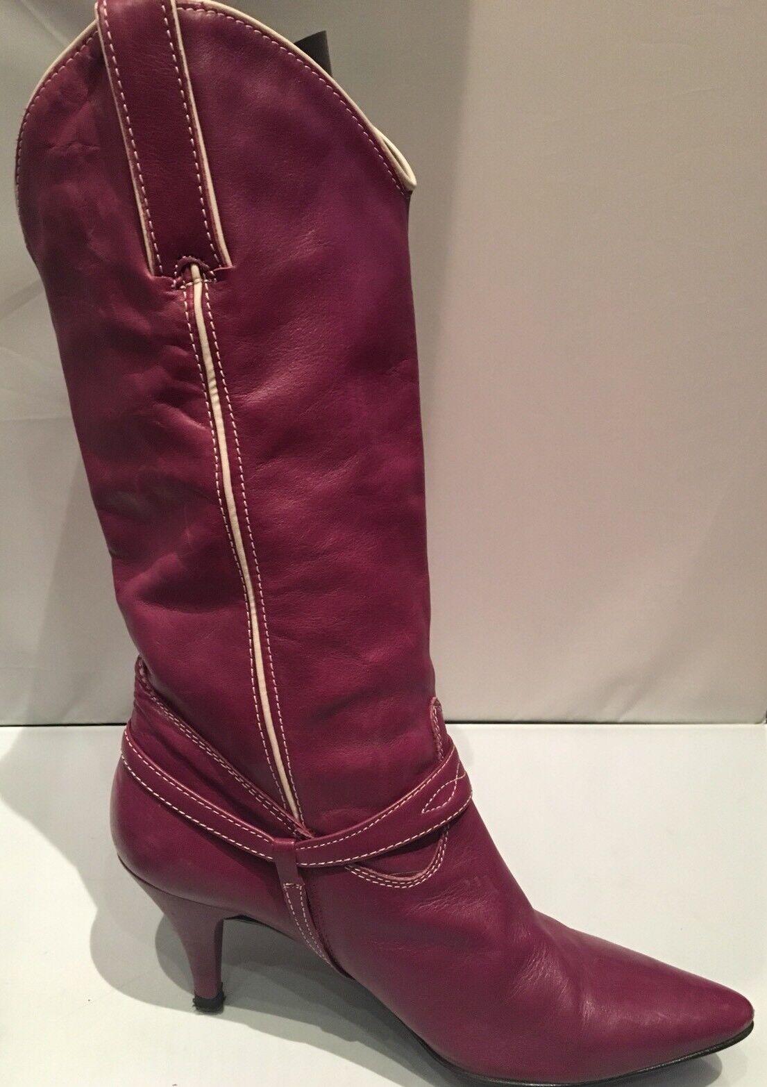 Gorgeous lila Leather Bronx Cowboy Stiefel, Größe 37, UK 4