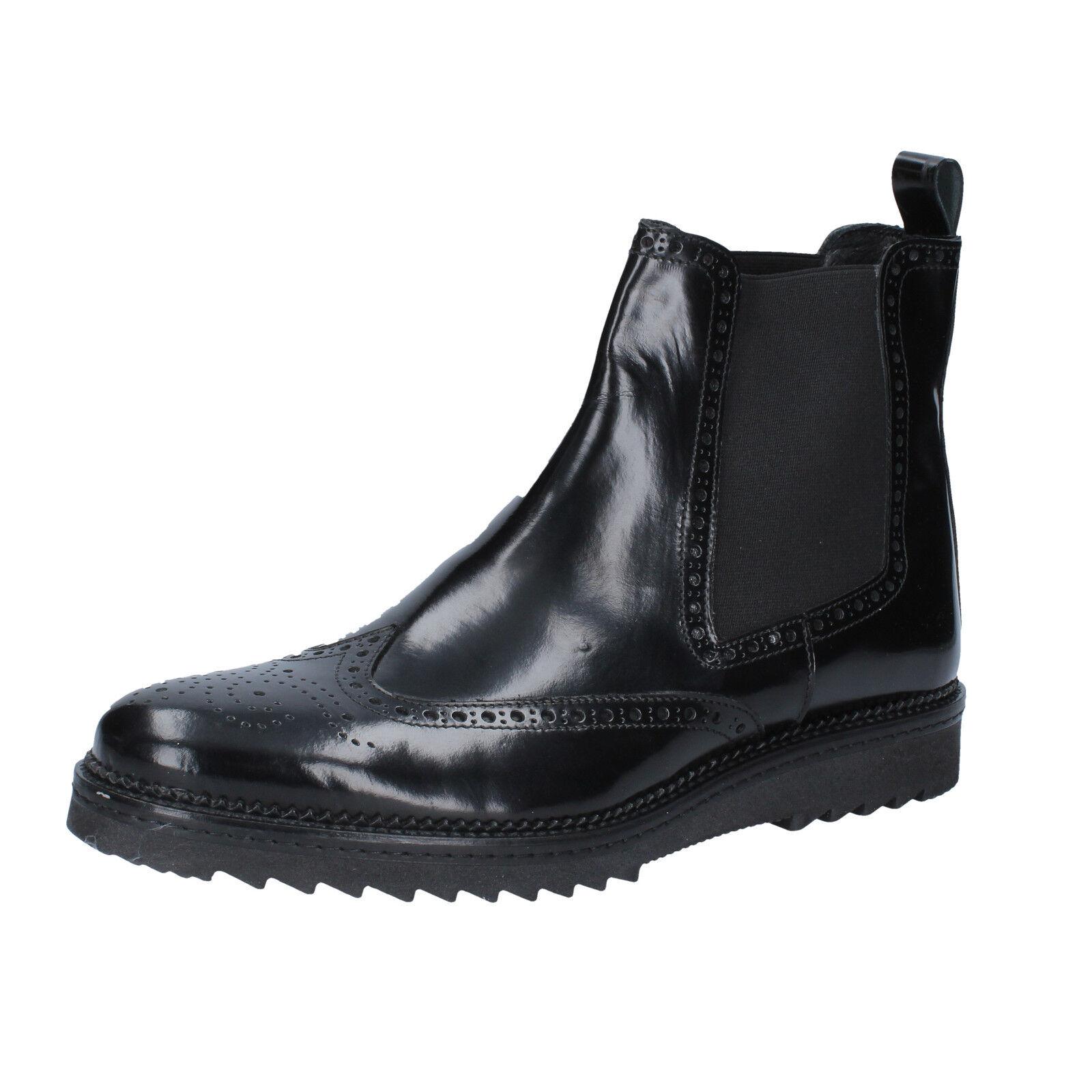 Mens shoes SALVO BARONE 11 (EU 45) ankle boots black shiny leather BZ144-E