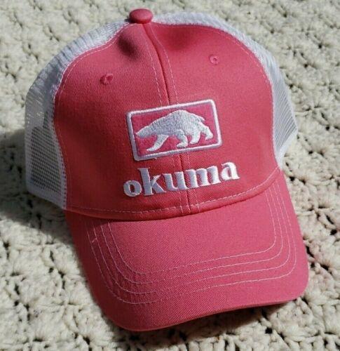 Okuma canne à pêche moulinets Snapback Mesh Trucker Patch Chapeau Bonnet Rose Blanc