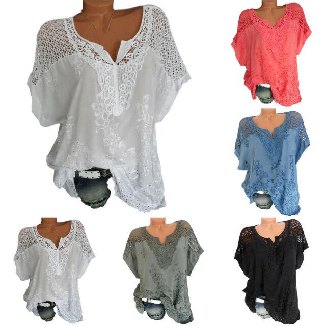 Women V Neck Lace Crochet Hollow Casual Beach T-Shirt Tops Blouse Tee Plus Size