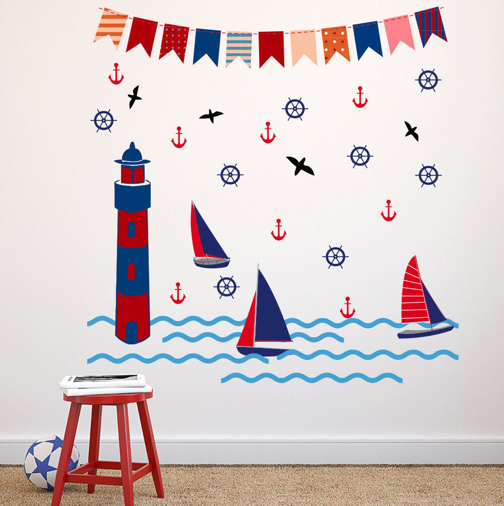 Nautical Wand Decal Sea Light House Decals Sail Boat Decal Anchor Decal aa538