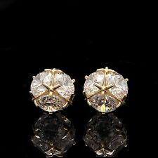 Cluster Ball Earrings 6CT Round Cut 14K Solid Yellow Gold Fancy Stud