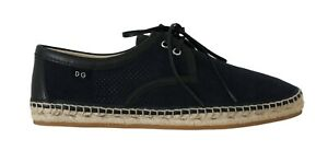 DOLCE-amp-GABBANA-Espadrilles-Loafers-Shoes-Blue-Suede-Leather-EU42-US9-RRP-560