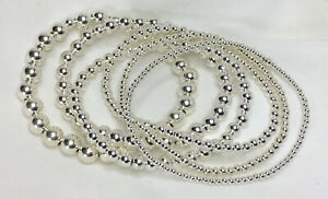 Sterling-Silver-Ball-Bead-Bracelet-Chain-Bangle-Jewelry-Real-925-Solid-Silver