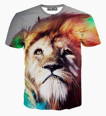 Men Women Sexy Funny Vintage 3D Print Lion Animal Round Top Tee T Shirt Size L