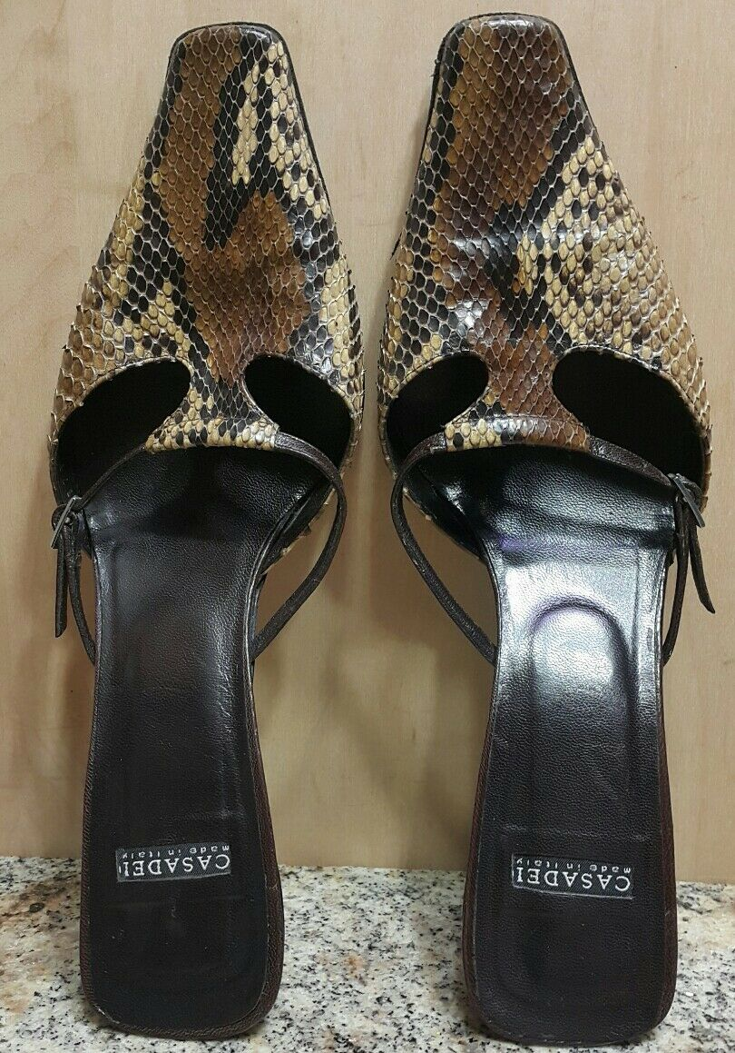 Casadei Brown Tan Snakeskin Square Toe Adj. Adj. Adj. Buckle StrapMules shoes Size 6.5 B 9633c7