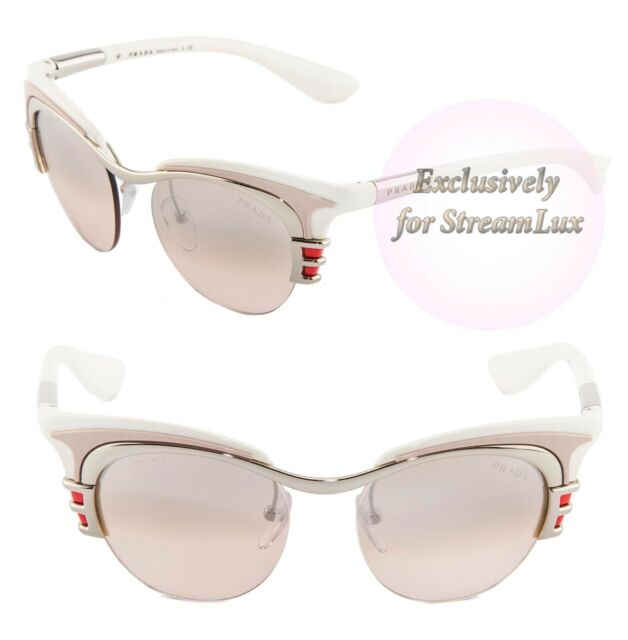 4e55797a76cf PRADA Dixie Sunglasses Spr 60o 1bc-1j1 Women Cat Eye White Pink Lens ...