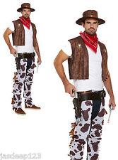 Cowboy Fancy Dress Costume Adulto Para Hombre cowprint Outfit Western Sombrero Bandana Chaps