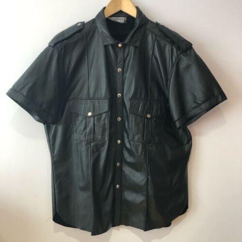Black leather short sleeve shirt