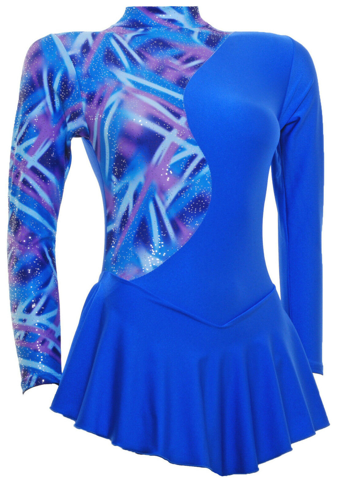 Skating Dress - Royal  bluee Multi Hologram royal bluee Lycra (S1000)  100% price guarantee