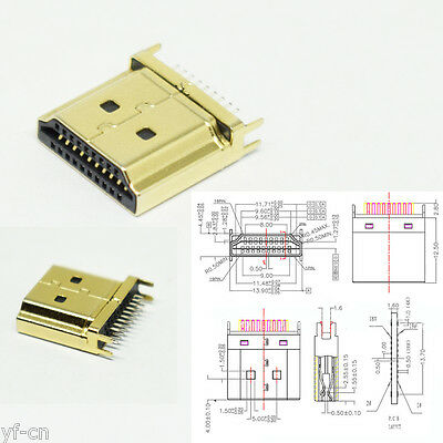 1pc Nickel Plated HDMI Type A 19pin Male Plug Socket Soldering Connector