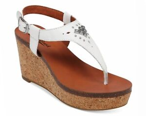 aa42b9b34d66 New LUCKY BRAND Women s White Leather Narnie Platform Wedge Sandals ...