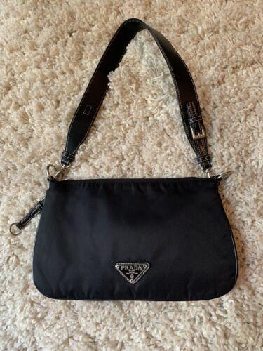 Vintage Prada Black Nylon Shoulder Bag 90s y2k