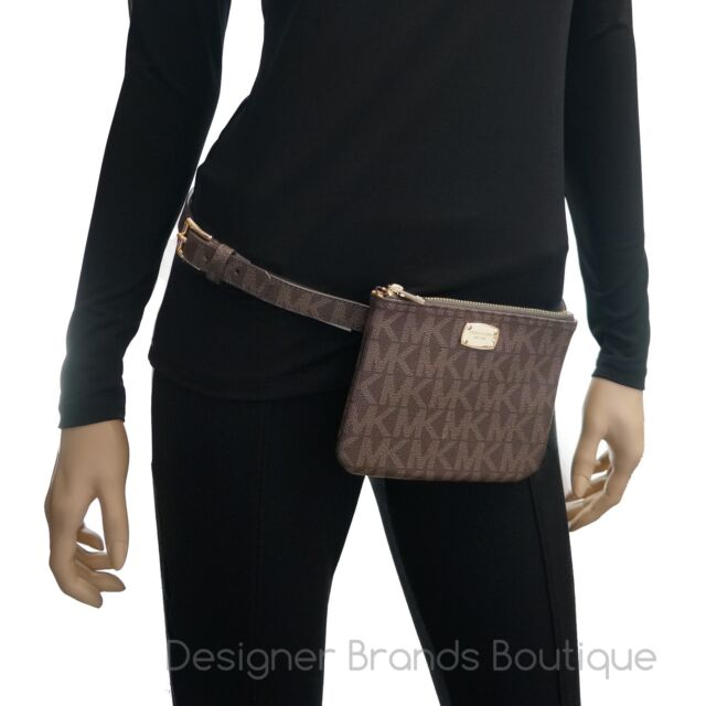6e4490b4a934 Michael Kors MK Logo Chocolate Brown Fanny Pack Belt Bag 554131 Size ...