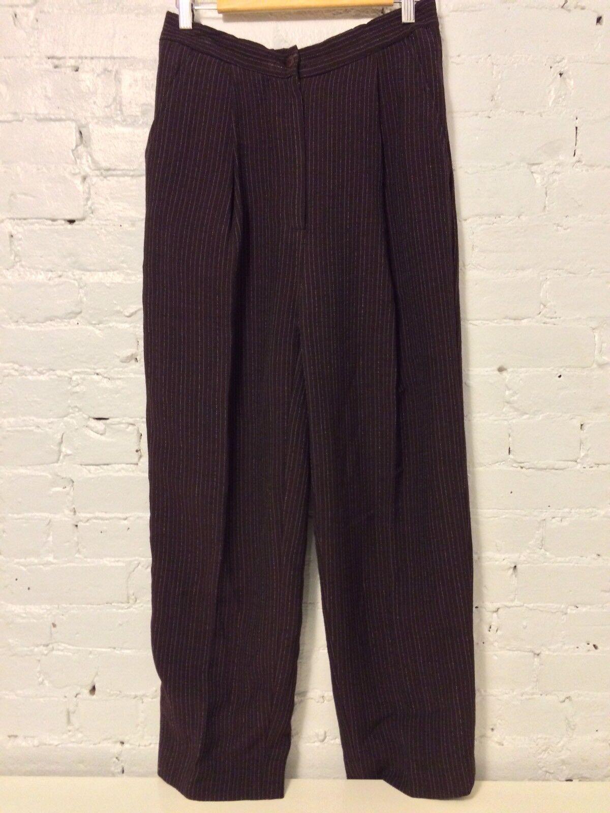 Eileen Fisher Wool Pleated Crop Dress Pants High Waist Metallic Stripe Brown  L