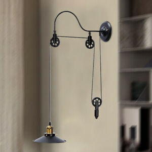 Details About Vintage Hanging Pulley Pendant Lights Retro Retractable Wall Lamp