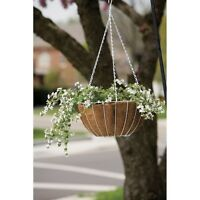 12 Panacea 88504 14 Round White Wire Growers Hanging Baskets With Chain & Liner