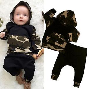 62bae63f83f21 2PCS Kids Baby Boys Camo Hoodies Pullover Sweatsuit Tops Harem Pants ...