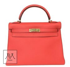 Hermes Kelly Bag 32cm Togo Leather Capucine Red Pink GHW - 100% Authentic