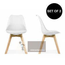 set of 2 mid century modern DSW white dining chair seat cushion wood.eames,esque
