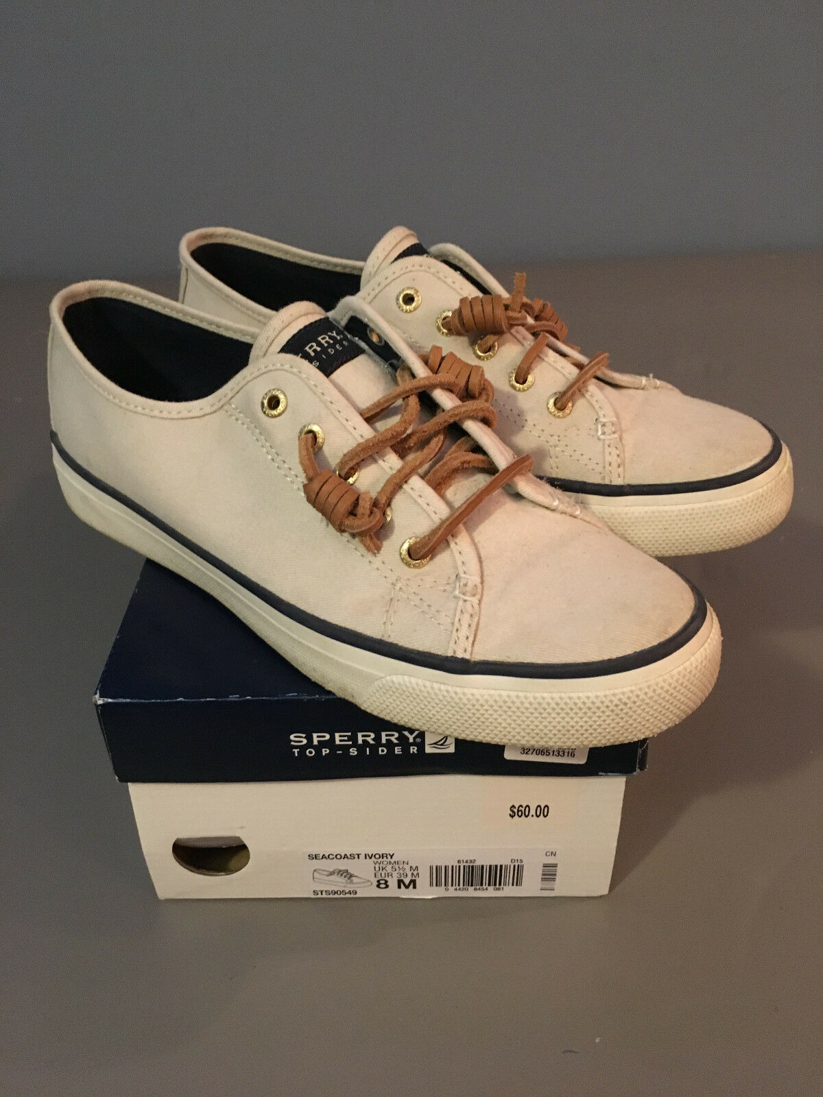 In Box Genuine Women Sperry Seacost Ivory Boat Shoes #STS90549 8M