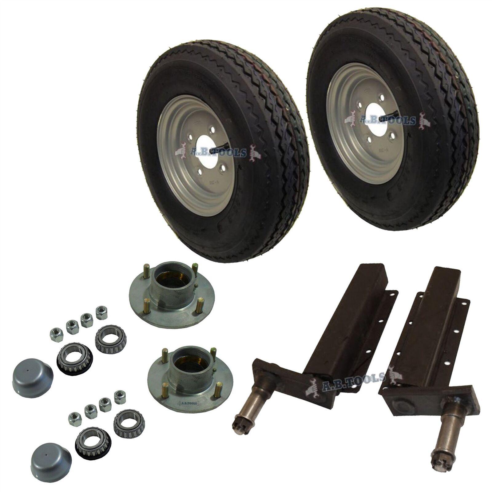 500kg Cubo de unidades de suspensión de remolque 4 PCD 4 Stud Rueda Neumático 400x8  4PLY