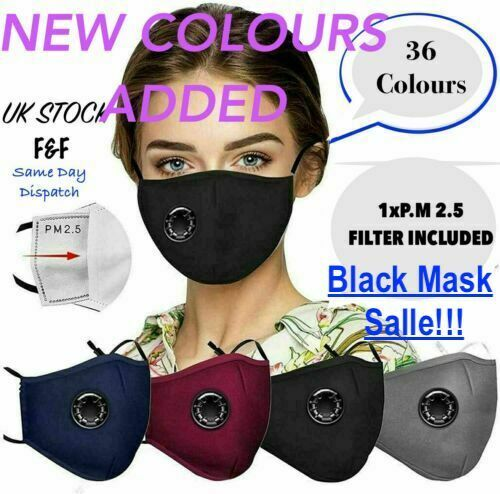 4 LAYERS COTTON FACE MASK WITH FILTER AIR VALVE.WASHABLE, REUSABLE. BREATHABLE.