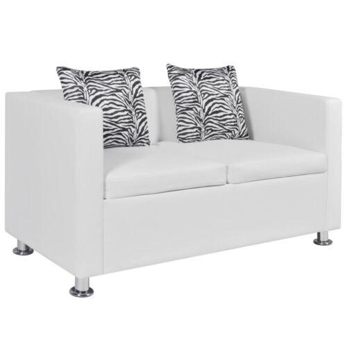 vidaXL Sofa 2er Luxus Loungesofa Sitzmöbel Ledersofa Polstersofa Schwarz//Weiß