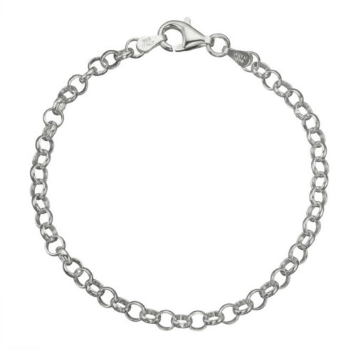 """8/"""" 925 Sterling Silver 4mm Italian Round Rolo Cable Link Chain Bracelet 7/"""""""