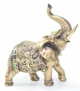 Feng shui 7 gold elephant trunk statue wealth lucky - Feng shui elephant placement ...