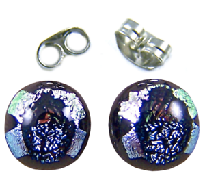 Tiny-GLASS-EARRINGS-DICHROIC-Post-1-4-034-10mm-Silver-Pink-Round-Layered-Fused-STUD