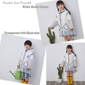 Kids rain Coat Transparent Waterproof Windproof Lightweight rain Jacket for Boys Girls rain Poncho