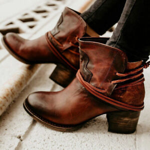 Women-039-s-Winter-Vintage-Round-Toe-Buckle-Lace-Up-Ankle-Boots-High-Heels-Shoes-gb