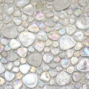 Details About Iridescent Pebble Gl Mosaic Ice White For Wall And Floor Tile