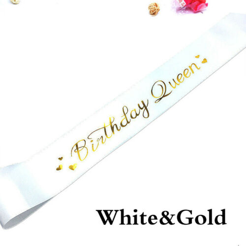Glitter Birthday Queen Sash Etiquette Band Party Favor Decor Cheer Beautiful