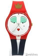 New Swiss Swatch Wonderqueen Blue Red Silicone Women Watch 34mm GR165